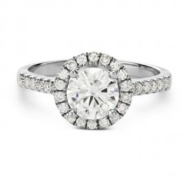 Charles & Colvard 14k Gold 1.3-carat Round Moissanite Halo Engagement Ring only $559.99
