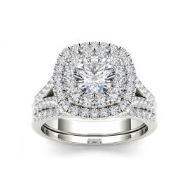 De Couer 14k Gold 2ct TDW White Diamond Halo Bridal Set from $1999 ($8,139)
