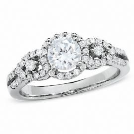 $2799.3 - 1 CT. T.W. Three Stone Framed Diamond Engagement Ring in 14K White Gold (Was $3999)